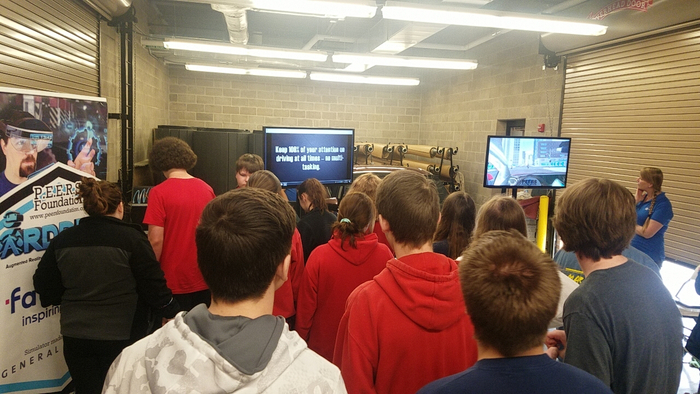 10th and 11th grade students at the PEERS Foundation Distracted Driving Event sponsored by FAURECIA